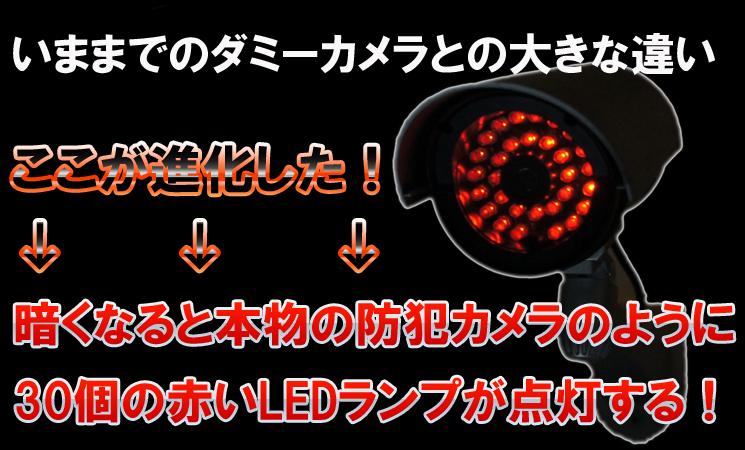 本物のカメラの様に30個の赤いLEDランプが点滅します